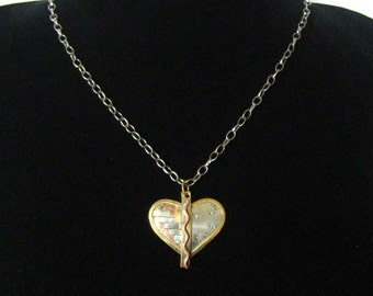 "CLEARANCE Modernist Mixed Metal Artisan Heart Pendant on Silver Tone  24"" Claspless Chain"