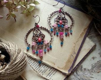 Arabic Copper Earrings  Wire Wrapped Bohemian Copper Earrings -  Boho Tribal Earrings - Blue Pink Stones Gypsy Earrings Filigree hoops