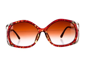 80s CHRISTIAN DIOR Oversized Luxe / Glam Butterfly Vintage Red & Gold Designer Sunglasses - SO Rare!