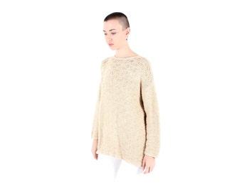 SALE - 90s Nude / Flesh / Cream Textured Knit Crochet Grunge Sweater Dress / Long Sleeve Top- Unisex / Minimal