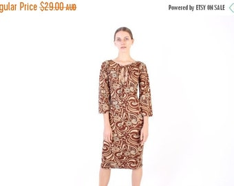 10,000 LIKES 7 Day Sale 90s Does 70s Psychedelic Print Keyhole Cleavage Long Sleeve Midi Dress