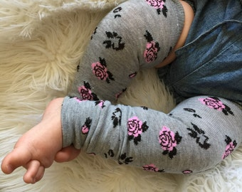 Pink Rose Heather Gray Baby Legs / Leg Warmers- Free Domestic Shipping