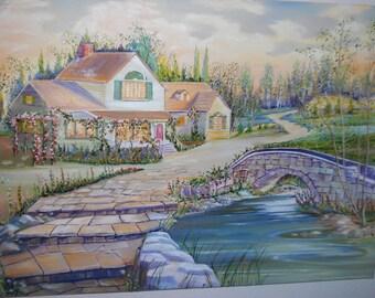 Peaceful Home by the Stream, Stony Bridge, Oil Painting,Home Portrait, Bridge over Peaceful Waters,Dan Leasure Original Oil