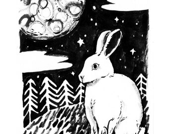 Moon rabbit Print A4 or A5