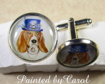 Steampunk Basset Hound Cufflinks, Steampunk Cufflinks, Basset Cufflinks, Steampunk Mens Gifts, Basset Mens Gifts, Steampunk Jewelry
