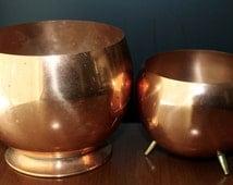 Retro Copper Planter flower Pots Home Living Vintage Copper Bowls Retro Copper Flower Pots Mid Century Modern Home Decor Mad Men Living Room