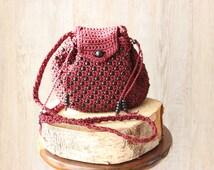 Vintage beaded bag,woven bag,hippie beaded bag,small crossbody bag.