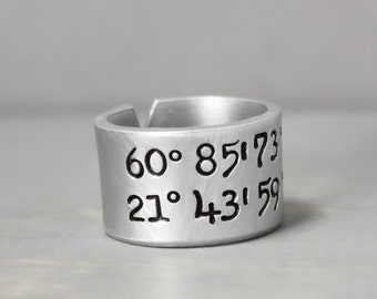 Coordinate Ring, Latitude Longitude Ring, Custom CoordinatesLongitude Latitude, Personalized Ring,Personalized Jewelry