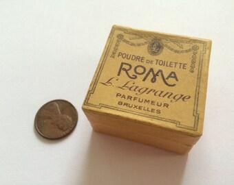 Art Nouveau Powder Box Miniature, Poudre de Toilette ''Roma'' by Lagrange, Belgium