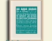 Disney Family Rules 11 by 14 Typography (colored backgrounds) - NEW ITEM SALE!
