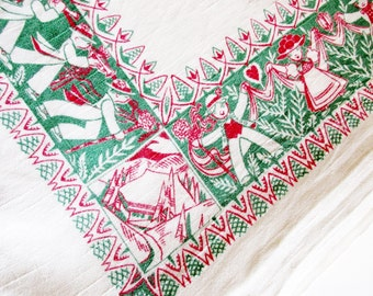 Large German Vintage Rustic Woven Schwarzwald / Black Forest Folk Art Linen Tablecloth with Couples Trees and Hearts