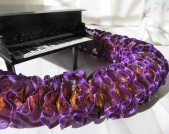 Hawaiian Ribbon Lei Dark Purple/Gold Trim and Yellow Gold