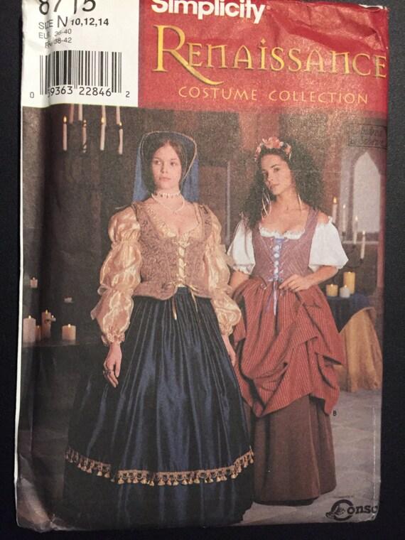 Simplicity Sewing Pattern 90s 8715 Renaissance Costume Misses Vest, Blouse, Hat, Skirt Size 10-14