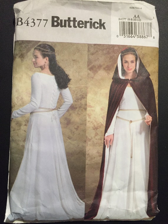 Butterick Sewing Pattern 4377 Misses Medieval Dress and Cape Costume Size 6-12