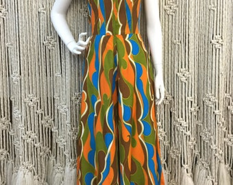 1960s Psychedelic Alfred Shaheen zip-up wide leg jumpsuit