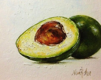 Avocado Oil Painting Original Fine Art Kitchen Art Small Painting 6x6 Fruit Vegetable by Nina R Aide/Artist