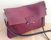 One off Handstitched large soft burgundy purple leather flap crossbody bag with black strap and silver hardware