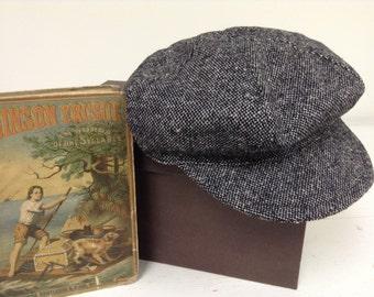 Black tweed newsboy Hat , black tweed  beret hat for little boys, photo prop for boys
