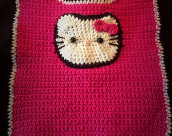 Hello Kitty Baby Bib - Crocheted
