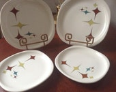 Syracuse Trends Plates 4 total in 2 sizes RETRO Geometric Pattern Square Shape Diner Restaurant Ware ART DECO 1970  mid century appeal