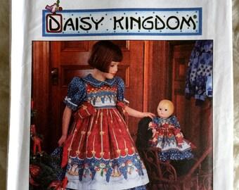 """Simplicity Girls Daisy Kingdom Dress and Pinafore Doll Dress 17"""" Sewing Pattern 7303 UC FF Uncut Size 3 4 5 6"""
