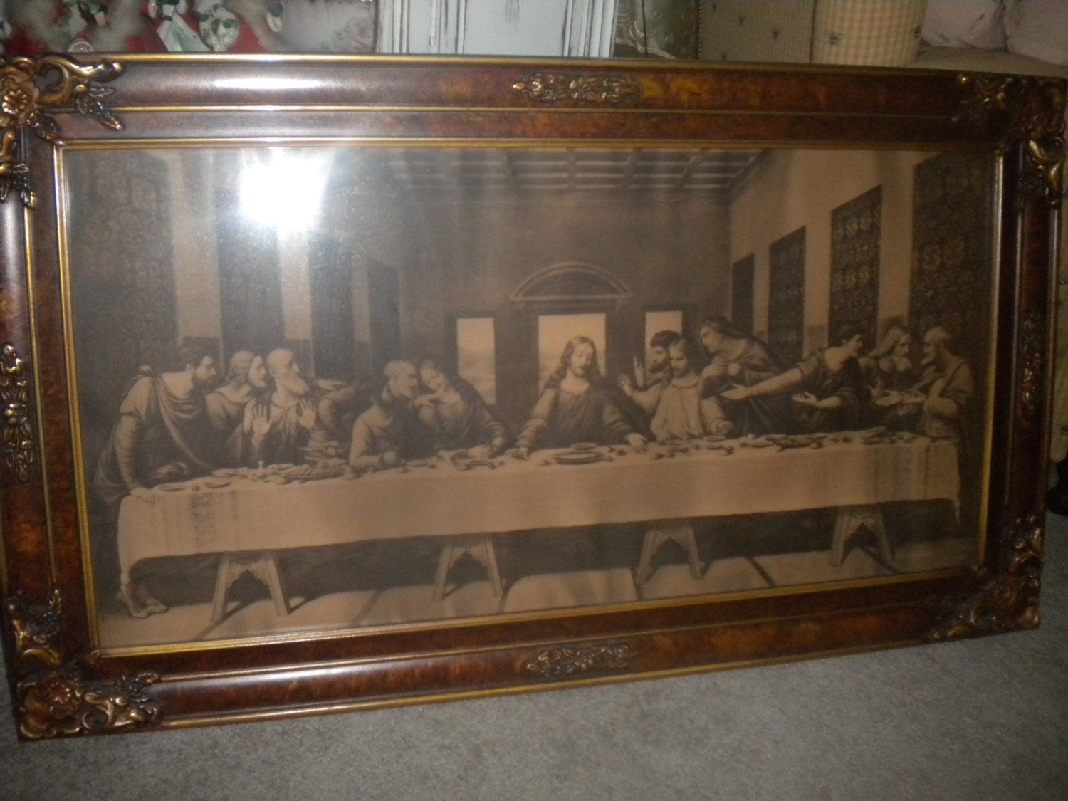 Antique Framed Last Supper Art Deco Wood Frame Vintage