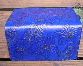 handmade tooled leather checkbook cover