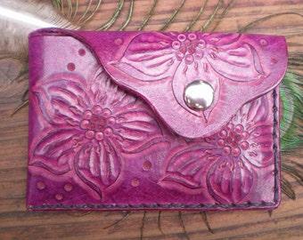 Favorite wallet tooled leather slim wallet deep violet