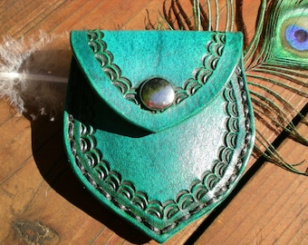 Handmade leather coin pouch / coin purse
