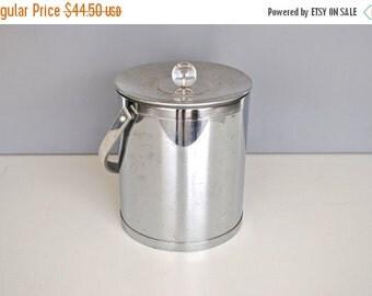 ON SALE Mid Century Ice Bucket - Stainless Steel Insulated Ice Bucket