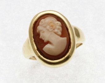 Vintage 14k yellow gold Cameo Bezel Oval Ring Estate