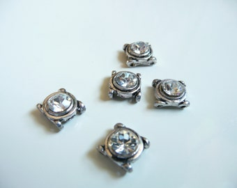Swarovski Crystal Antique Oxidized Silver Plated 2 Hole Slider Bead - 8x9mm - Crystal Clear - 5  pieces
