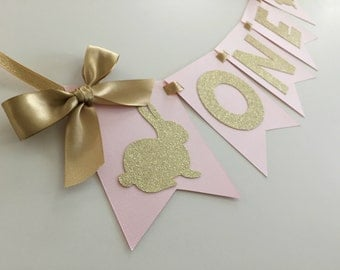 Bunny High Chair Banner in Pink and Gold for 1st Birthday. First Birthday Decorations. ONE High Chair Banner. Some Bunny is One!