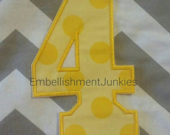 Large yellow  number 4 with  yellow polka dot  -Iron on embroidered fabric applique patch embellishment- ready to ship