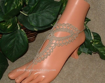 Tan Barefoot Sandals Anklet Foot Jewelry Beige Crochet Barefoot Sandals Lace Up Women Barefoot Shoes Handmade Barefoot Sandles Gift