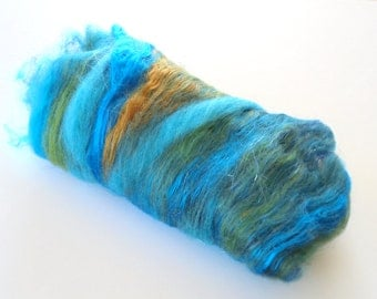 SAILING AWAY - Soft Art Batts, Luxury Art Batts, Blue Batts, Green Batts, Bronze Batts, Spinning Fiber, Spinning Fluff, Gift for Spinner