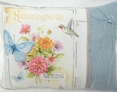 Garden Pillow.Hummingbird. Flowers. Butterfly