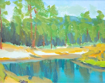 Original Painting Deschutes River Gouache Paper