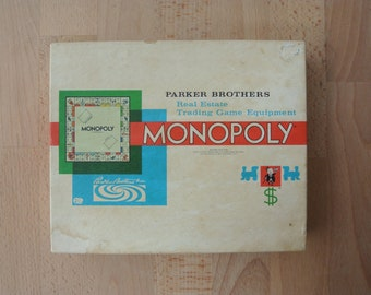 Vintage Box of Monopoly Board Game Playing Parts by Parker Brothers Australia  (No Board) British Place Names
