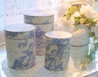 Nesting Boxes Toile Blue French Country  Storage Display