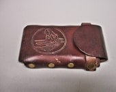 Vintage Hand Made Western Leather Cell Phone Case With Horse Head On It