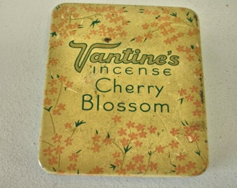 Vintage Vantines Incense Burner Tin Cherry Blossom 1920s Art Deco Tin