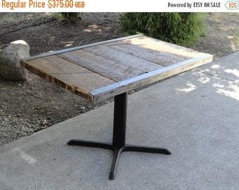 "Last Chance Sale 10% OFF. Custom 36""x 48"" No Trim Old Reclaimed Barnwood Restaurant Dining Table, Reclaimed Antique Barn Wood, Steel"
