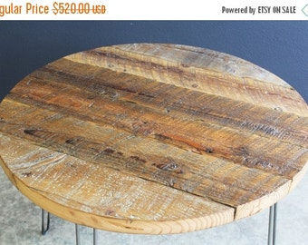 "Last Chance Sale 15% OFF. 42"" Round Antique Barnwood Coffee Table with Hairpin Legs"