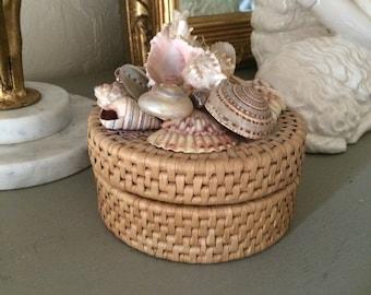 Wicker Coaster Set Seashell Decor