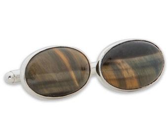 Tiger's Eye Cuff Links Hand Crafted Medium Genuine Gemstone Sterling Silver 925
