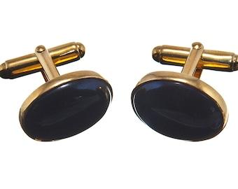 Black Onyx Cufflinks Mini Oval Traditional Genuine Gemstone Gold Plated Sterling Silver 925