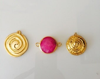 Set of 3/ Gold Edged Pink Jade Connector & Gold plated pendants