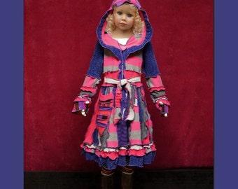 Children sweater, Elf cOAT, elf sweater, girl sweater, hoodie, patchwork, dress, todler hoodie, size 12 yrs