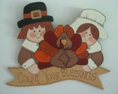 Pilgrims, turkey, Thanksgiving,  wall hanging, door hanging, banner